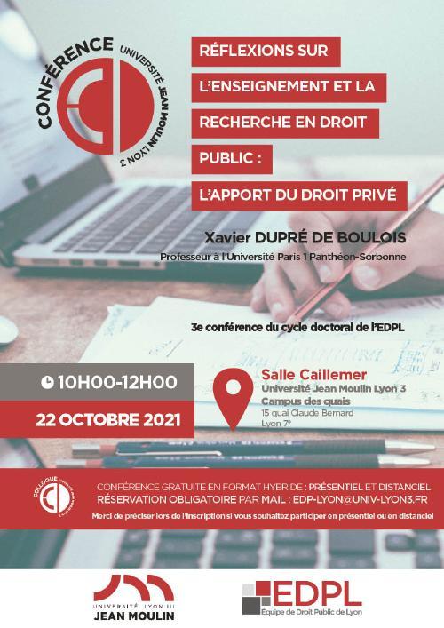 """Affiche de la conférence """"Conférence : Réflexions sur l'enseignement et la recherche en droit public : l'apport du droit privé"""""""