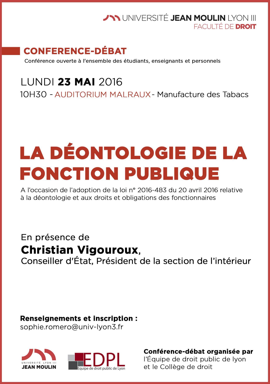 affiche conférence déontologie 23 mai