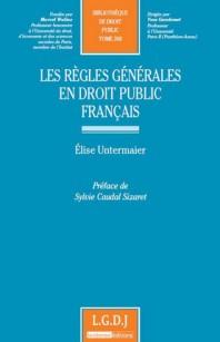 couverture publication les règles générales en droit public français